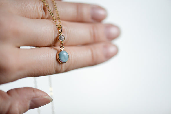 Hudson Blue Pearl and CZ Necklace - Porcelain Jewelry