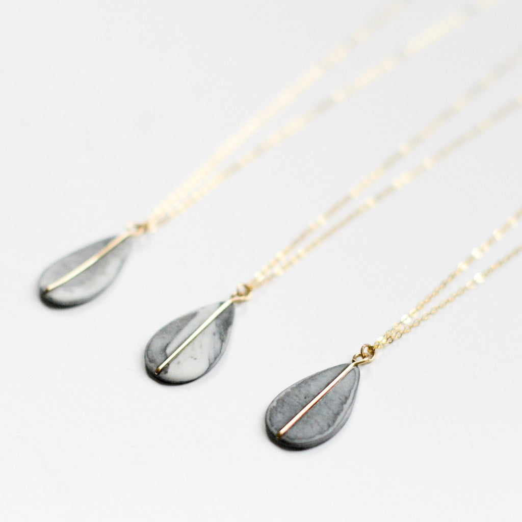 Marble Teardrop Porcelain Necklace