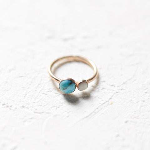 Natural Turquoise Ring - 14k gold-filled Porcelain Ring