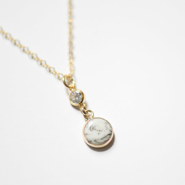 Porcelain Pearl and CZ Necklace