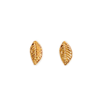 Gold Leaf Studs - Leaf Jewelry