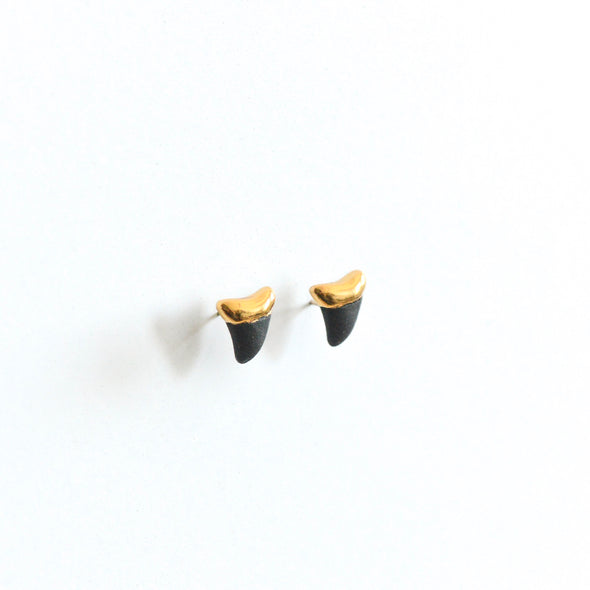 Sharktooth Earrings - Black Studs