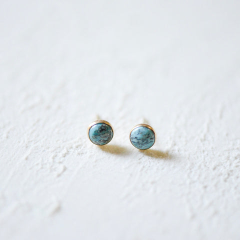 Turquoise Earrings - Bezel Set - Heritage Studs