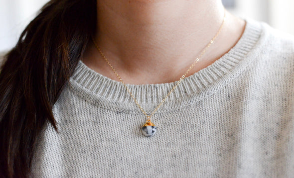Dipped Buoy Charm Necklace - Porcelain and Stone