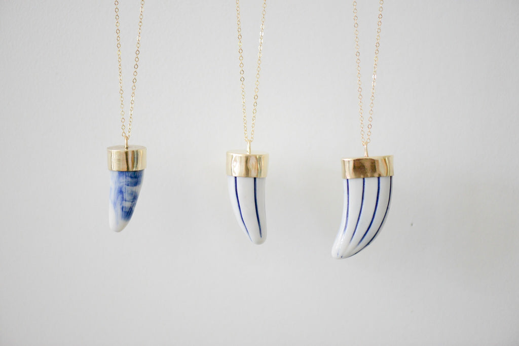 Shibori Blue Porcelain Surfboard Fin - Skeg Necklace