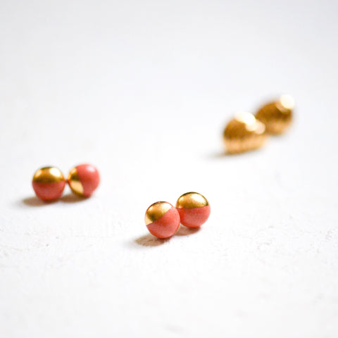 Satin Coral Dipped Mini Studs - Summer Jewelry