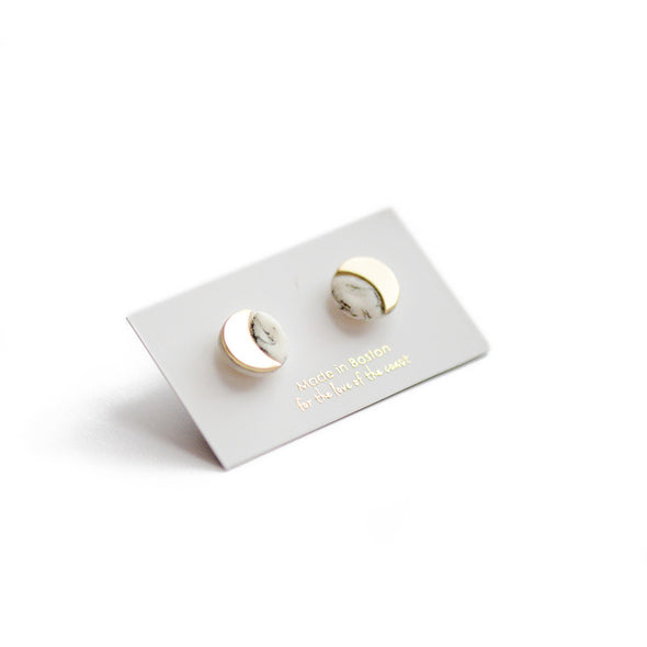 Marble Eclipse Stud Earrings - Porcelain Earrings