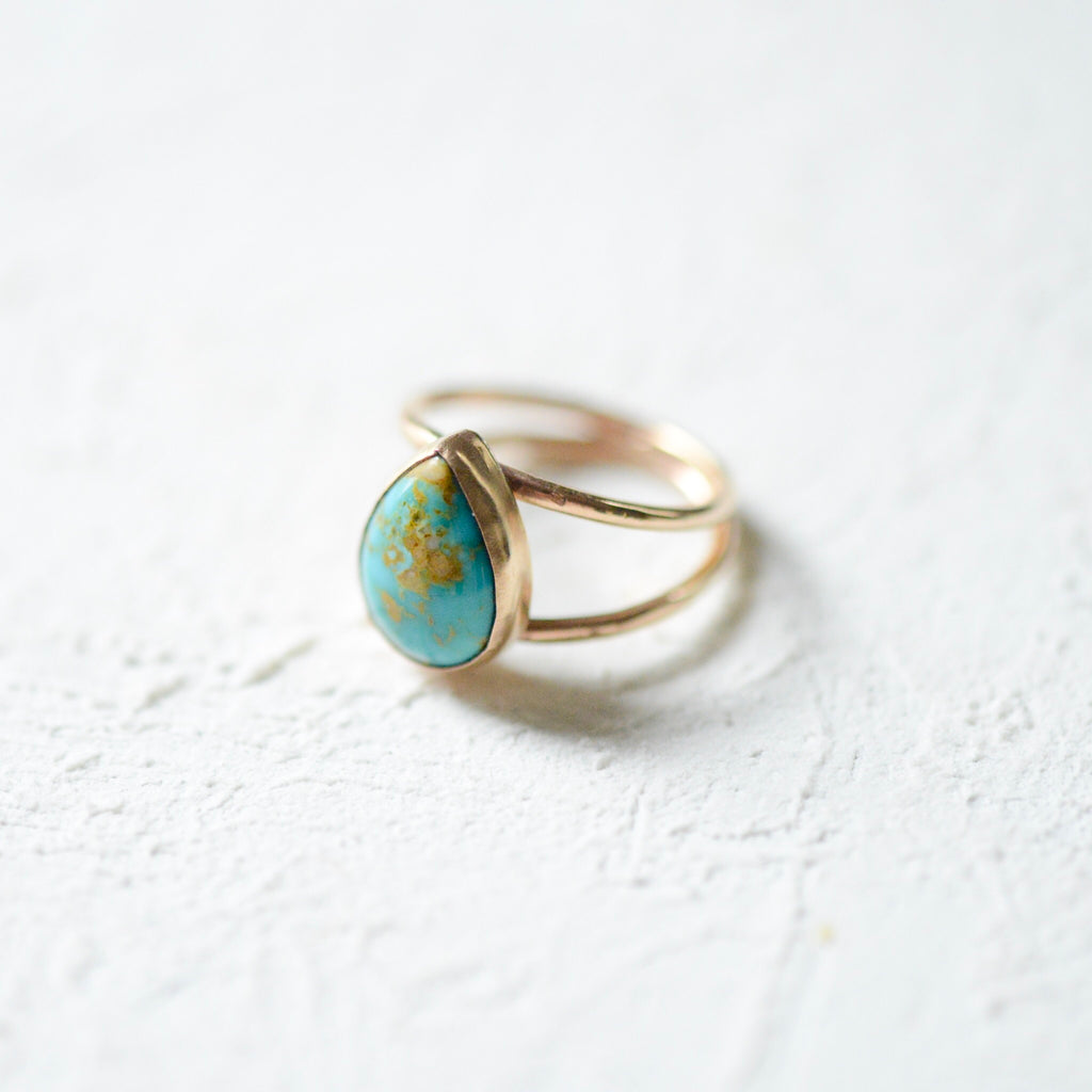 Turquoise and Porcelain Teardrop Ring - 14k gold-filled Porcelain Ring