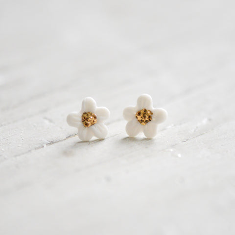Flower Bloom - hibaises - porcelain earrings