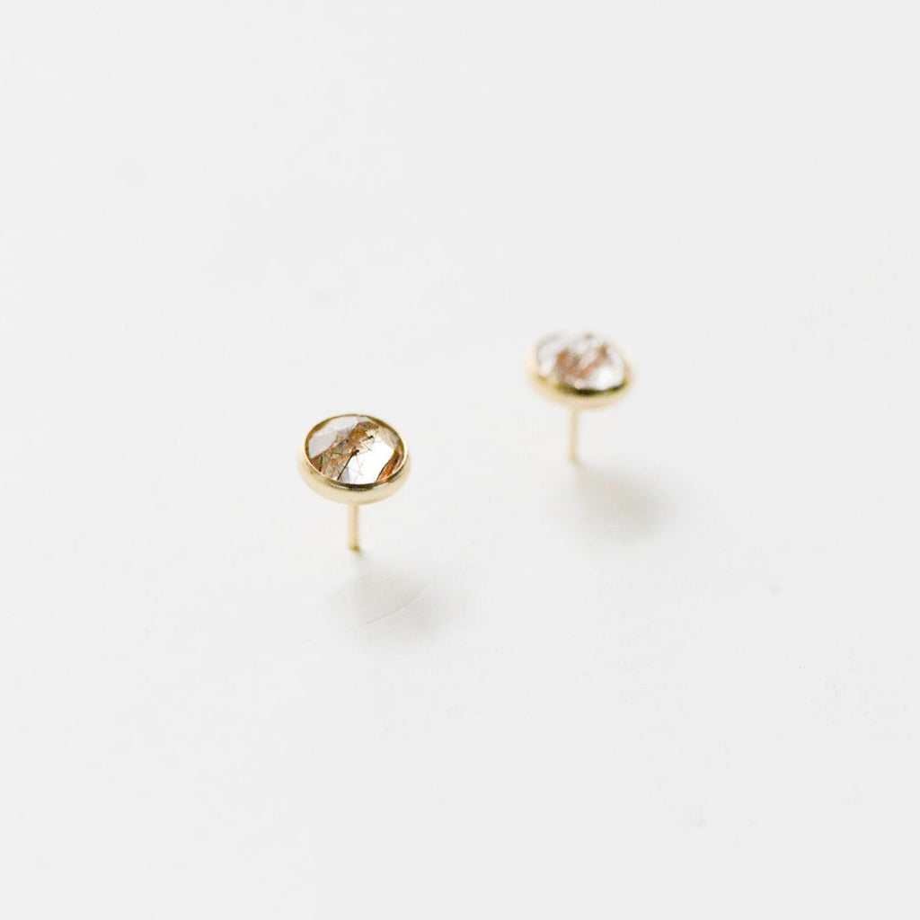 Quartz Stone Rutilated Heritage Studs