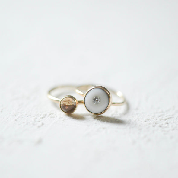 14k Porcelain and Gold Diamond Engagement Ring