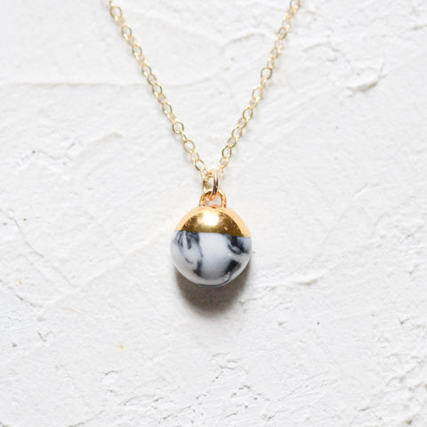 Marble Dipped Buoy Charm Necklace - Porcelain and Stone