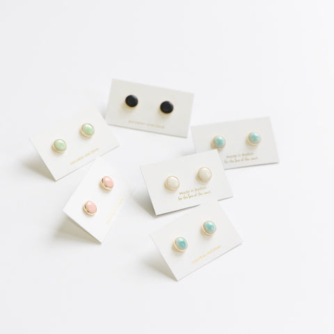 White Porcelain Earrings - Heritage Studs