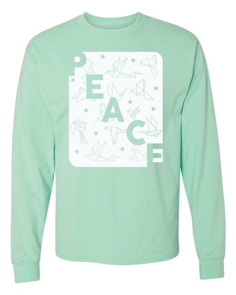 Peace Beefy-T Long Sleeve T-Shirt H5186,1Color Screen printing,Minimum 30