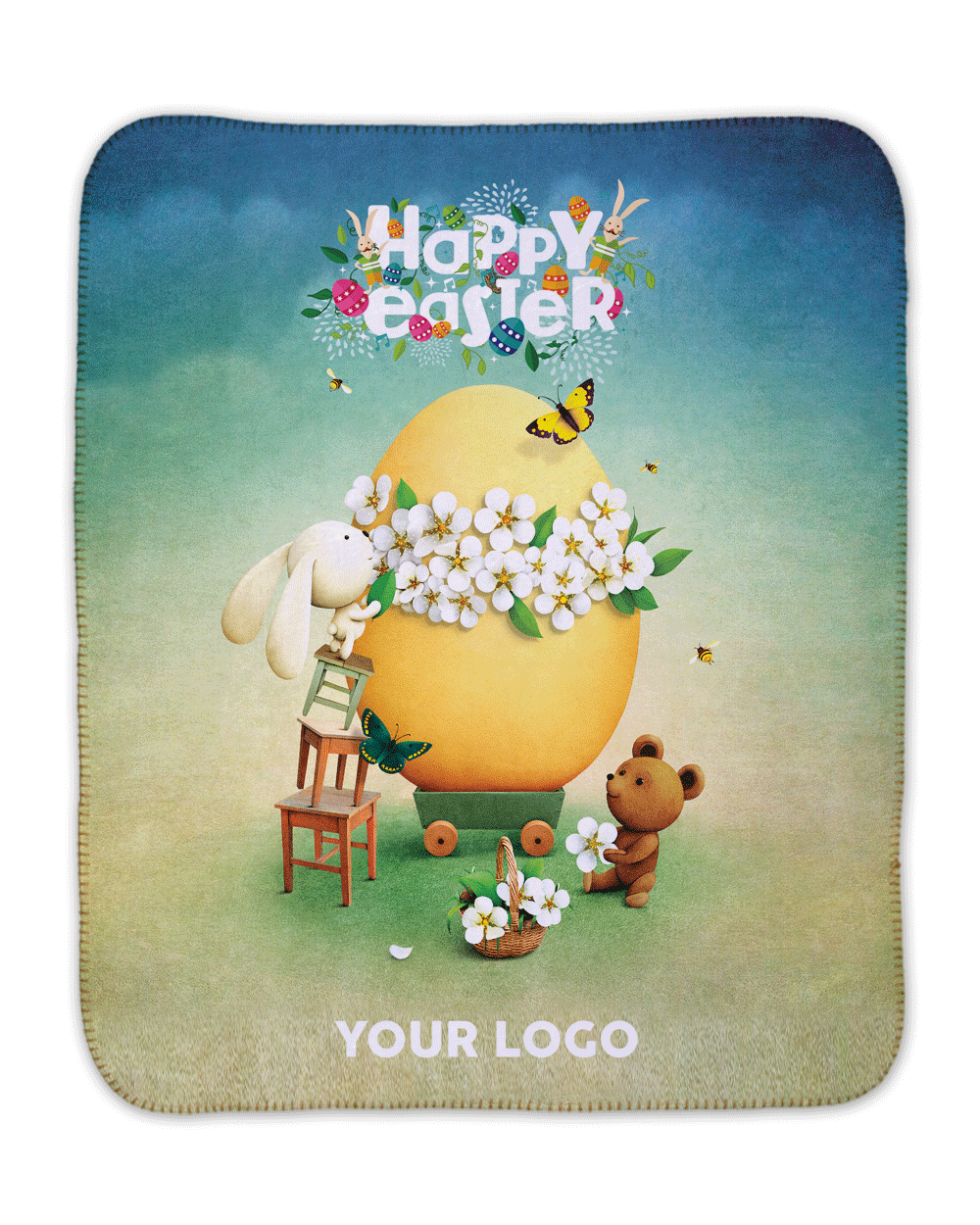 "Happy Easter Sherpa (SIZE 30""X 40"")"