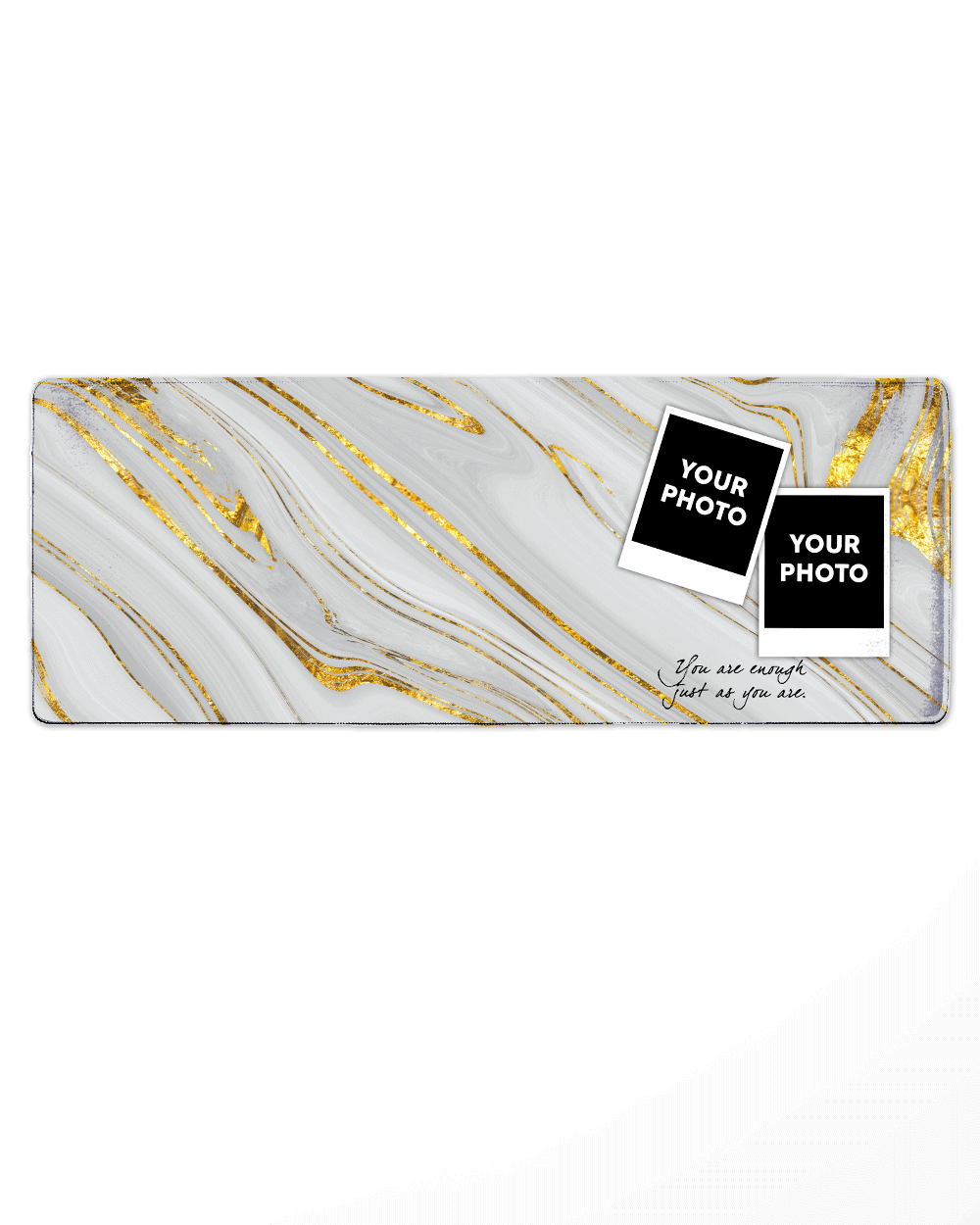 "Gray&Gold Pattern Mouse Pad with Nonslip Base (SIZE 12""X 31"")"
