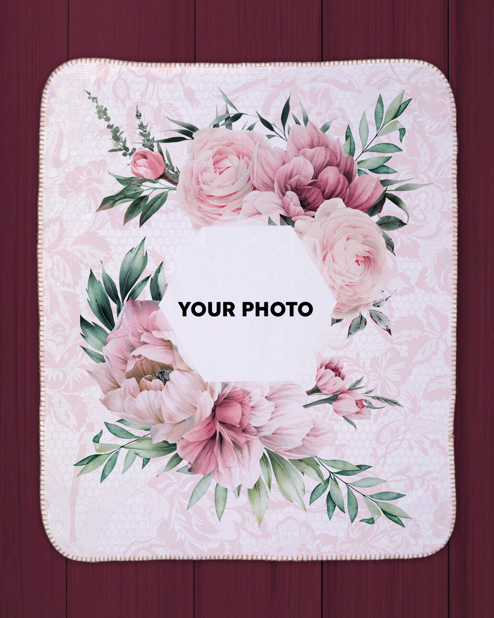 "Rose Photo Sherpa Blanket  (SIZE 30""X 40"")"