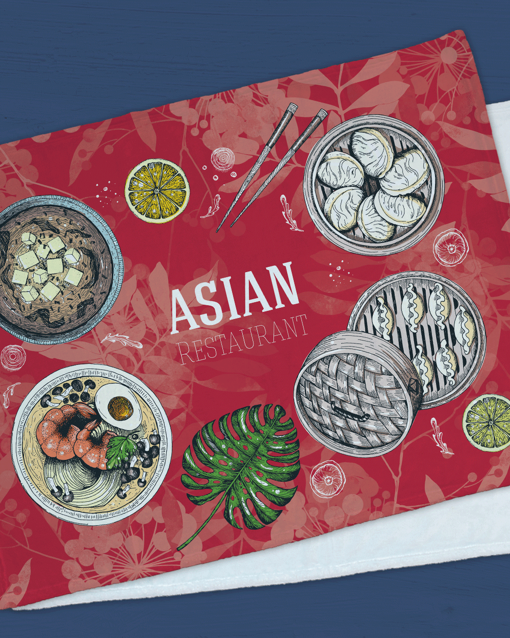 "Asian Food Minky  (SIZE 40""X 30"")"