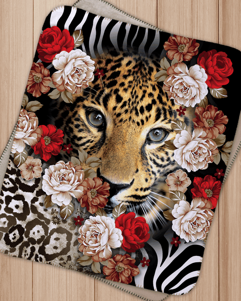 "Tiger in flowers Sherpa Blanket  (SIZE 30""X 40"")"