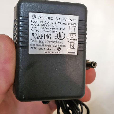 ALTEC LANSING A9-400 9V 400mA Power Supply Adapter Charger
