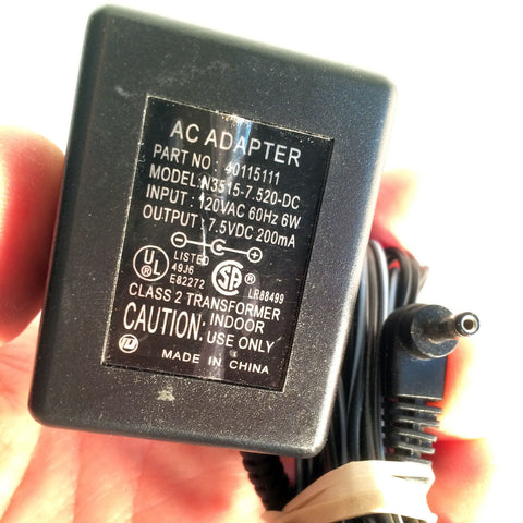 40115111 N3515.7.520-DC 7.5VDC 200mA 7.5V DC Power Supply AC Adapter