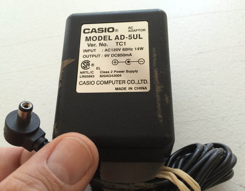 Casio AD-5UL Ver. TC1 9V DC850mA DC 850mA Keyboard Power Adapter Charger