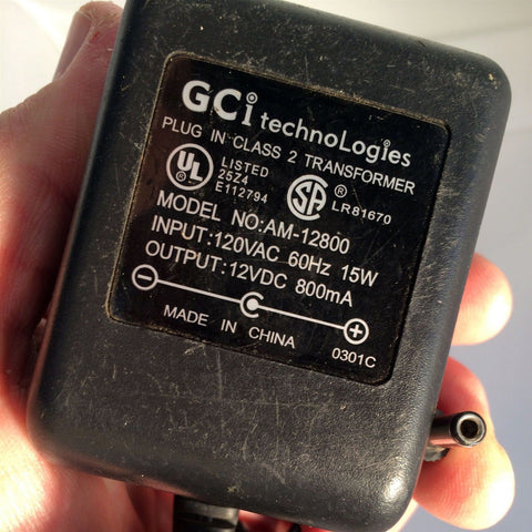 GCi AM-12800 Power Supply AC Adapter 120VAC 60HZ 15W 12VDC 12V 800mA
