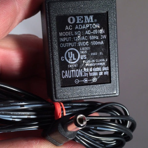 OEM AD-0910N 9VDC 9V DC 100mA Power Supply AC Adapter