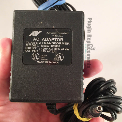 ATV MW57-123000 OEM Power Supply Adapter Charger AC-AC 12V AC 3A