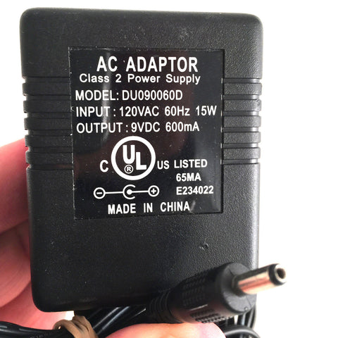 DU090060D AC OEM Power Supply Adapter Charger 9VDC 9V 600mA