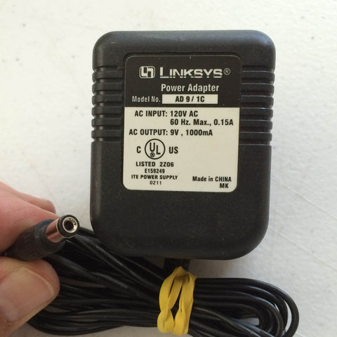 Linksys Model No. AD 9/1C, Output: 9V 1000mA, Power Supply AC/DC Adapter Wall Wart