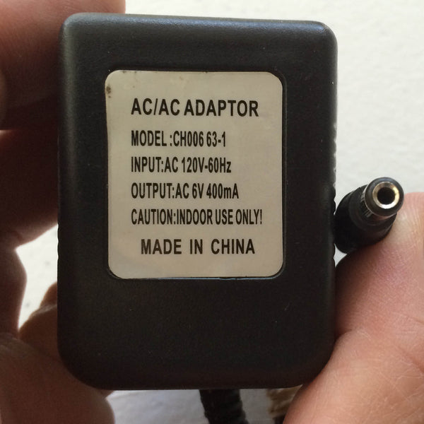 Power Meter Pedals >> Model: CH006 63-1 (CH00663-1), Output: AC 6V 400mA Power Supply AC/DC – Plugin Replacements