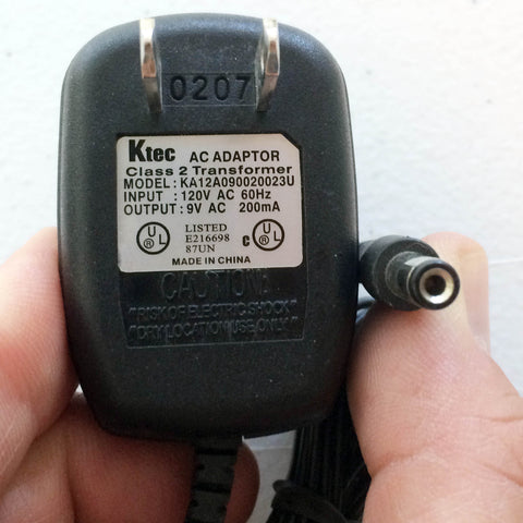 Ktec KA12A090020023U OEM Power Supply AC/AC Adapter 9V 200mA