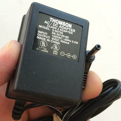 Thomson Model: 5-4073A SK-35120-6D, Output: 6VDC DC 400mA Power Supply Adapter