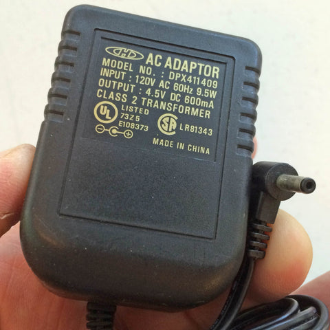 Model No.:  DPX411409, Output: 4.5V DC 600mA Power Supply AC/DC Adapter Wall Wart