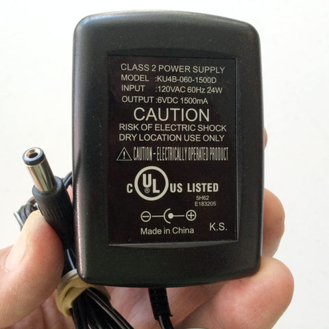 KU4B-060-1500D OEM Power Supply AC/DC Adapter Charger 6V 1500mA