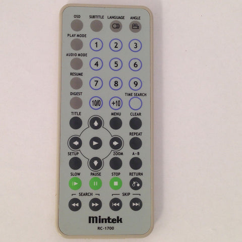 MINTEK INITIAL PORTABLE DVD PLAYER REMOTE RC-1700 IDM-830 IDM-831 IDM-835