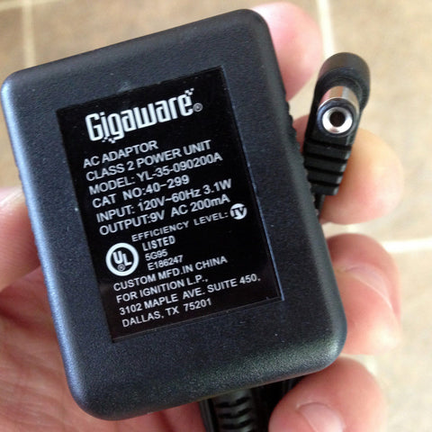 GIGAWARE YL-35-090200A 9V AC 200mA Power Supply Adapter