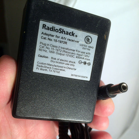 Radio Shack 15-1972R 12VDC 12V 400mA Power Supply Adapter