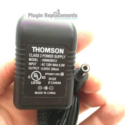 THOMSON U060020D12 OEM Power Supply Adapter Charger 6.0VDC 6V 200mA