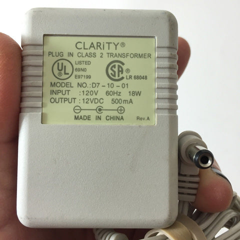 CLARITY D7-10-01 12V 500mA DC Power Supply Adapter