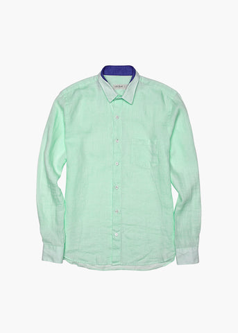 Long-Sleeve Linen Shirt - Glistening Mint