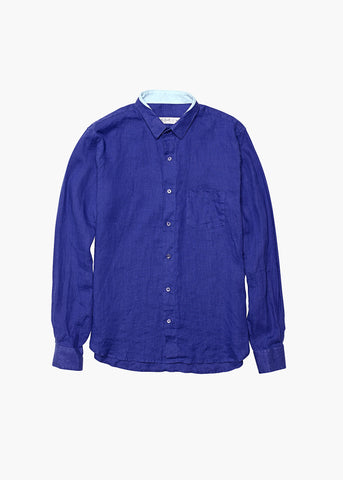 Long-Sleeve Linen Shirt - Aegean Sea Blue