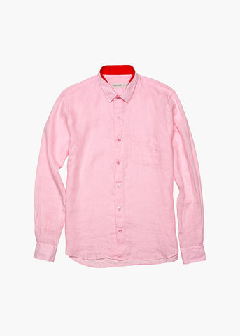 Long-Sleeve Linen Shirt - Beached Coral