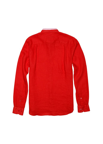 Long-Sleeve Linen Shirt - Sunrise Red