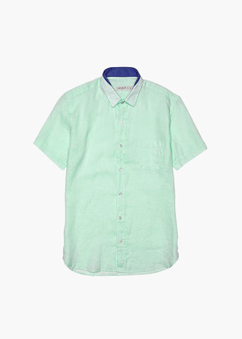 Short-Sleeve Linen Shirt - Glistening Mint