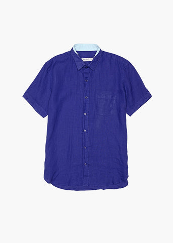 Short-Sleeve Linen Shirt - Aegean Sea Blue