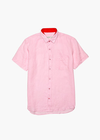 Short-Sleeve Linen Shirt - Beached Coral