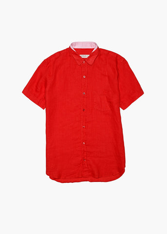 Short-Sleeve Linen Shirt - Sunrise Red