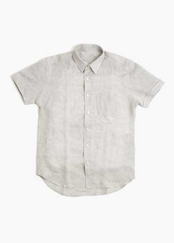 Short Sleeve Linen Shirt – Dove Grey